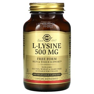 Солгар, L-Lysine, Free Form, 500 mg, 100 Vegetable Capsules отзывы покупателей