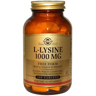 Solgar, L-Lysine, Free Form, 1000 mg, 100 Tablets