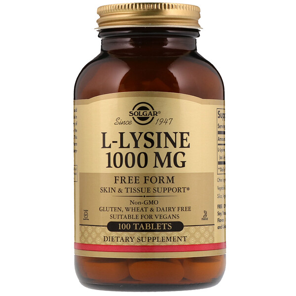 Solgar, L-Lysine, Free Form, 1,000 mg, 100 Tablets