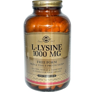 Solgar, L-Lysine, Free Form, 1000 mg, 250 Tablets