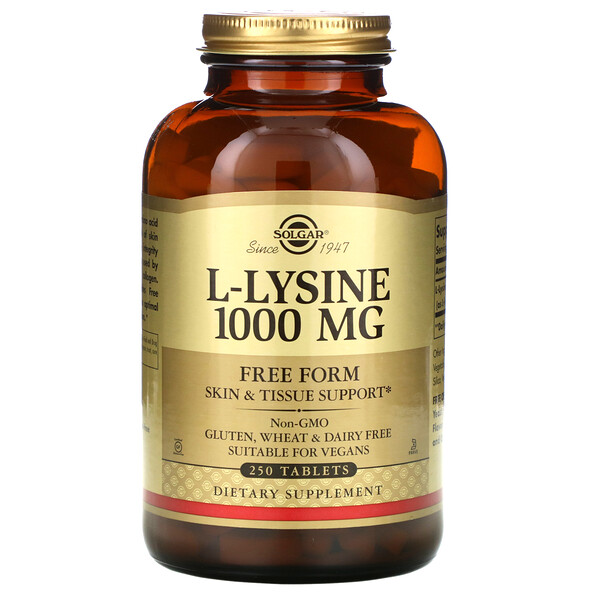 Solgar, L-Lysine, Free Form, 1,000 mg, 250 Tablets
