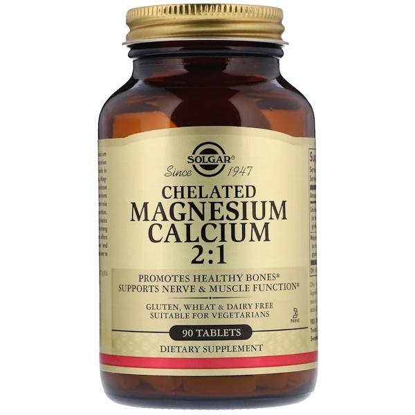 Solgar, Cálcio-Magnésio Quelato 2:1, 90 Comprimidos