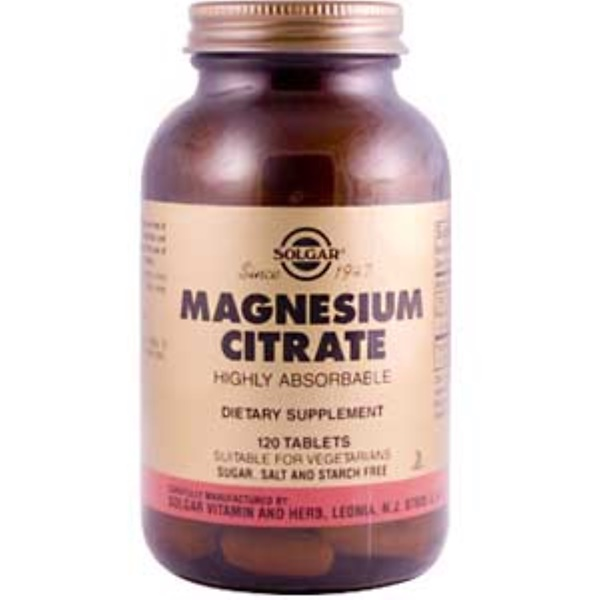 Solgar, Magnesium Citrate, 120 Tablets (Discontinued Item)