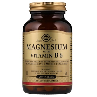 Solgar, Magnesio, con Vitamina B6, 250 pastillas