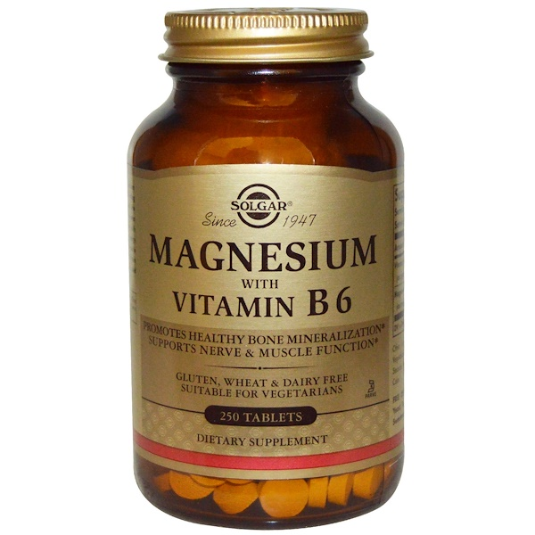 Solgar, Magnesium, with Vitamin B6, 250 Tablets