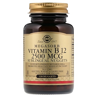 Solgar, Vitamina B12 sublingual, 2500 mcg, 120 Nuggets