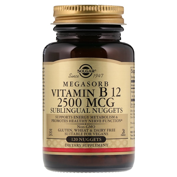 Solgar, Vitamina B12 Sublingual, 2500 mcg, 120 Pepitas
