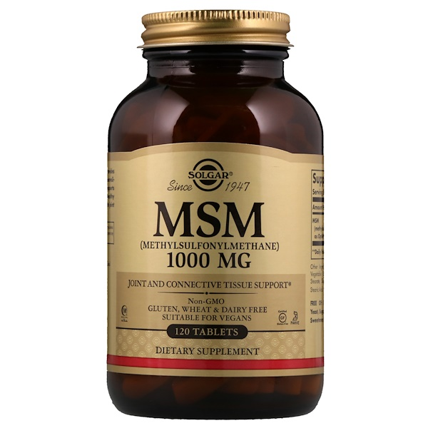 Solgar, MSM (Methylsulfonylmethane), 1,000 mg, 120 Tablets