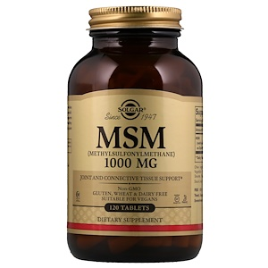 Солгар, MSM (Methylsulfonylmethane), 1,000 mg, 120 Tablets отзывы покупателей