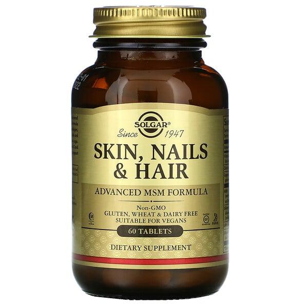 Solgar, Suplemento para la piel, las uñas y el cabello, Fórmula avanzada con metilsulfonilmetano, 60comprimidos