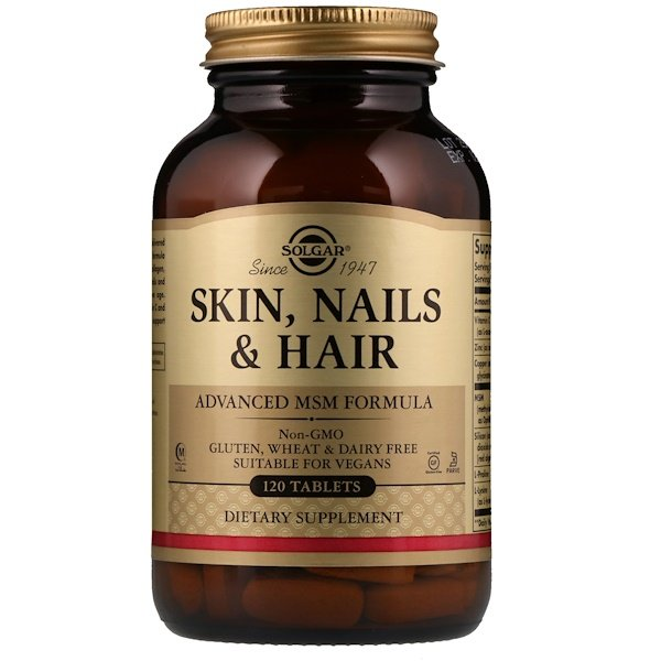 Solgar, Skin, Nails & Hair, Advanced MSM Formula, 120 Tablets