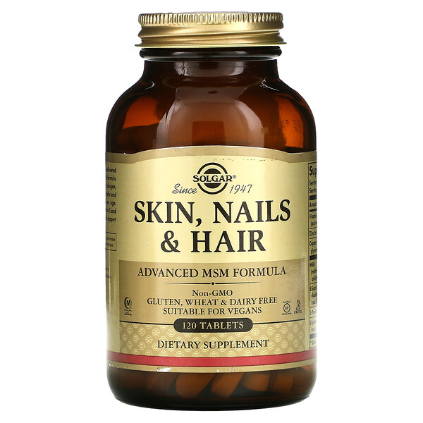 Solgar, Skin, Nails & Hair, Advanced MSM Formula, 120 Tablets