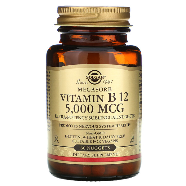 Solgar, Sublingual Vitamin B12, 5,000 mcg, 60 Nuggets