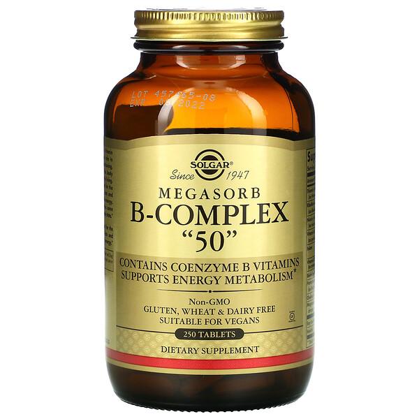 """Solgar, Megasorb B-Complex """"50"""", 250 Comprimidos"""