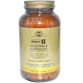 Solgar, Multi II, Multivitamin and Chelated Mineral Formulation, 180 Vegetable Capsules