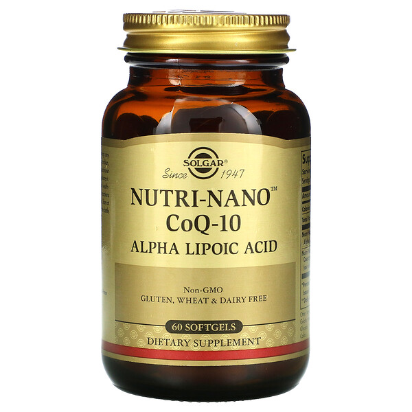 Solgar, Nutri-Nano CoQ-10, Alpha Lipoic Acid, 60 Softgels
