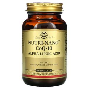 Солгар, Nutri-Nano CoQ-10, Alpha Lipoic Acid, 60 Softgels отзывы