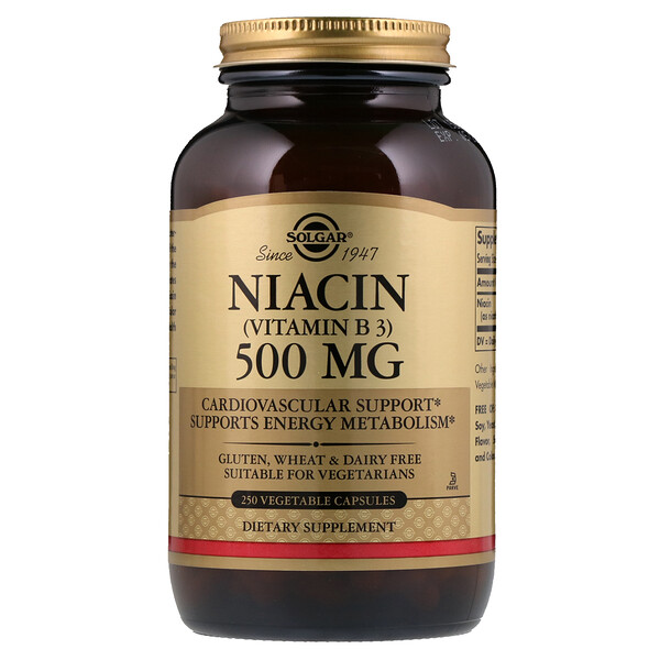 Vitamin B3 (Niacin), 500 mg, 250 Vegetable Capsules