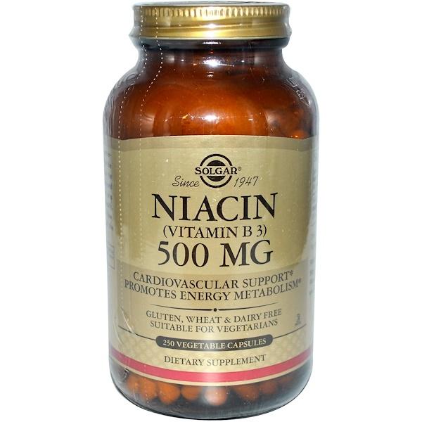 Solgar, Ниацин (витамин B3), 500 мг, 250 капсул на растительной основе