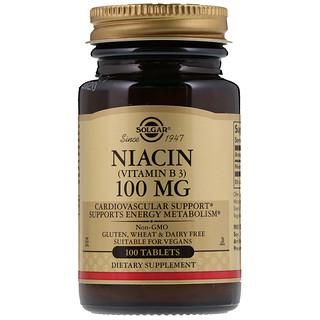 Solgar, Niacine (vitamine B3), 100 mg, 100 comprimés