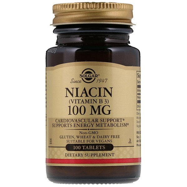 Niacin (Vitamin B3), 100 mg, 100 Tablets