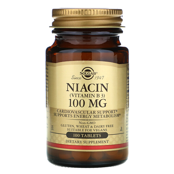 Solgar, Niacin (Vitamin B3), 100 mg, 100 Tablets