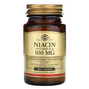 Солгар, Niacin (Vitamin B3), 100 mg, 100 Tablets отзывы покупателей