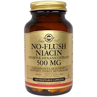 Solgar, ノーフラッシュ・ナイアシン、500 mg、ベジキャップ100錠