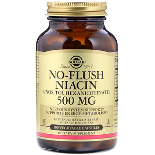 Solgar, No-Flush Niacin, 500 mg, 100 Vegetable Capsules
