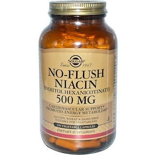 Solgar, No-Flush Niacin, 500 mg, 250 Vegetable Capsules