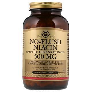 Solgar, Ниацин, не вызывает покраснений, 500 мг, 250 капсул на растительной основе
