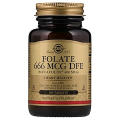 Solgar, Folate as Metafolin, 400 mcg, 100 Tablets