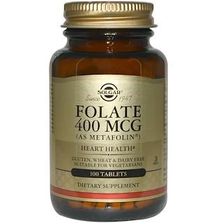Solgar, 폴레이트 (메타폴린 형태 엽산), 400 mcg, 100 정