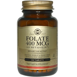 Solgar, 葉酸 (商品名メタフォリン)、400 mcg、100錠