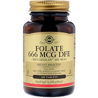 Solgar, Folate, 666 MCG DFE , 100 Tablets