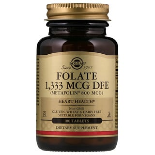Solgar, ソルガー, Folate As Metafolin, 800 mcg, 100 Tablets