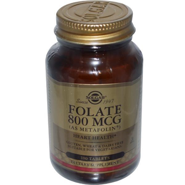 Solgar, Folate, As Metafolin, 800 mcg, 100 Tablets