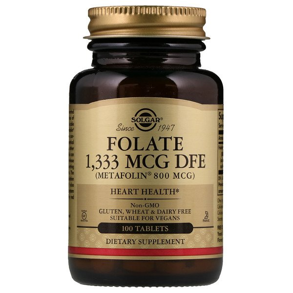 Solgar, Folate , 800 mcg, 100 Tablets
