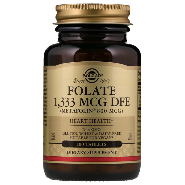 Solgar, Folate as Metafolin, 800 mcg, 100 Tablets