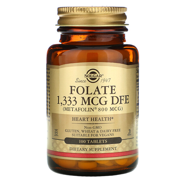 Folate , 800 mcg, 100 Tablets