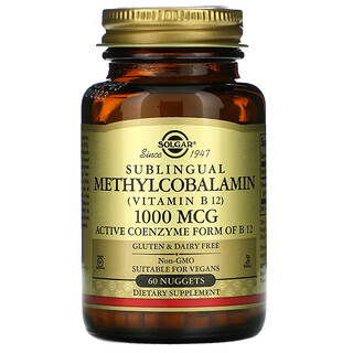 Solgar, Sublingual Methylcobalamin (Vitamin B12), 1,000 mcg, 60 Nuggets