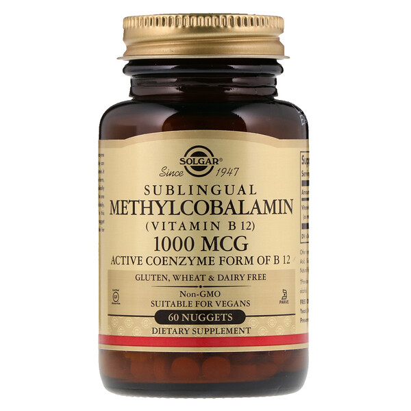 Solgar, Sublingual Methylcobalamin (Vitamin B12), 1000 mcg, 60 Nuggets