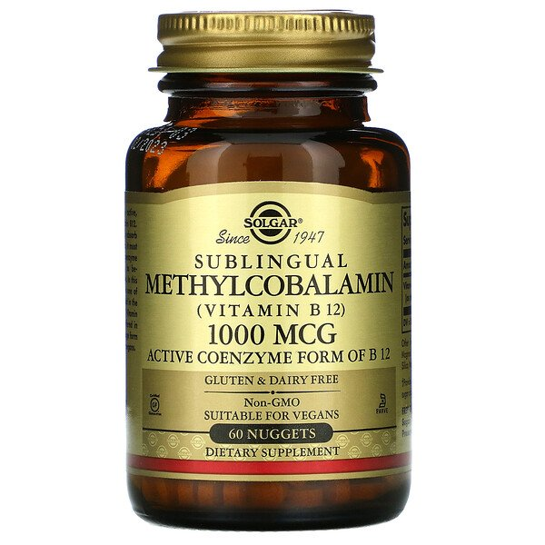 Sublingual Methylcobalamin (Vitamin B12), 1,000 mcg, 60 Nuggets