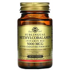 Solgar, 舌下含服甲鈷胺(維生素 B12),5,000 微克,30 塊