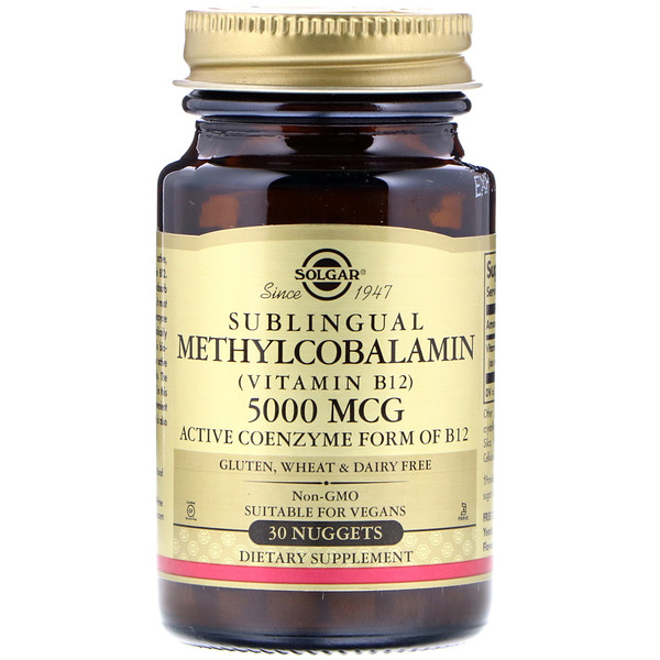 Solgar, Methylcobalamin (Vitamin B12), 5000 mcg, 30 Nuggets