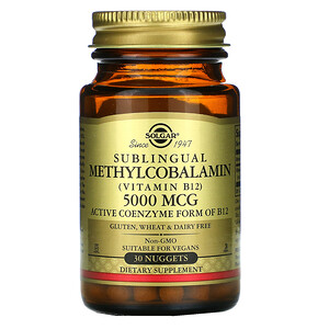 Солгар, Sublingual Methylcobalamin (Vitamin B12), 5,000 mcg, 30 Nuggets отзывы покупателей