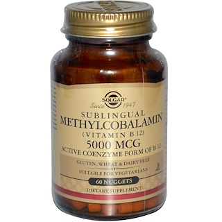 Solgar, Sublingual Methylcobalamin (Vitamin B12), 5000 mcg, 60 Nuggets