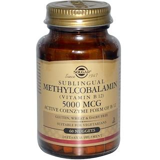 Solgar, 메틸코발아민(설하정), 5000 mcg, 60 너겟