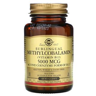 Solgar, Metilcobalamina sublingual (vitaminaB12), 5000mcg, 60comprimidos pequeños