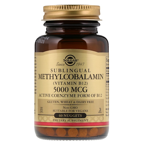 Solgar, Sublingual Methylcobalamin (Vitamin B12), 5,000 mcg, 60 Nuggets